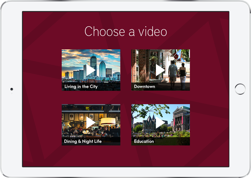 An iPad with a menu of thumbnails linking to videos.