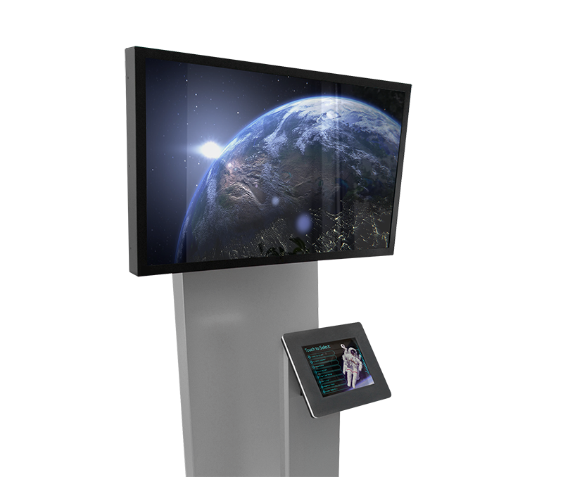 A freestanding iPad kiosk with an external monitor.