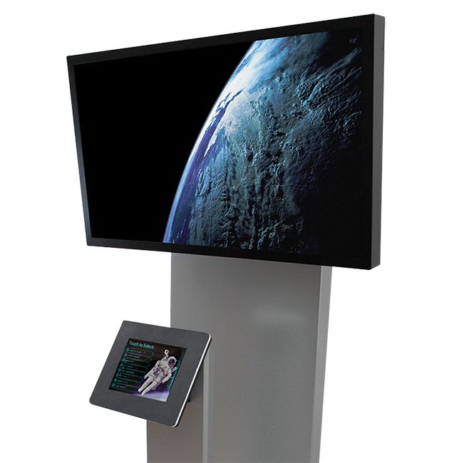 A Tower model kiosk, which securely encloses an iPad and an external LCD screen.